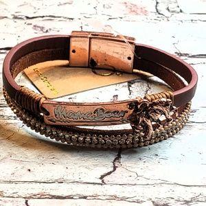 Jewelry - Burnt copper mama bear genuine leather bracelet
